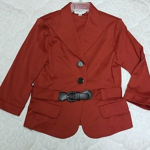 Burnt Orange Belted Blazer